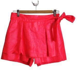 DVF Coral Orange Shiny Faux Wrap Mini Shorts